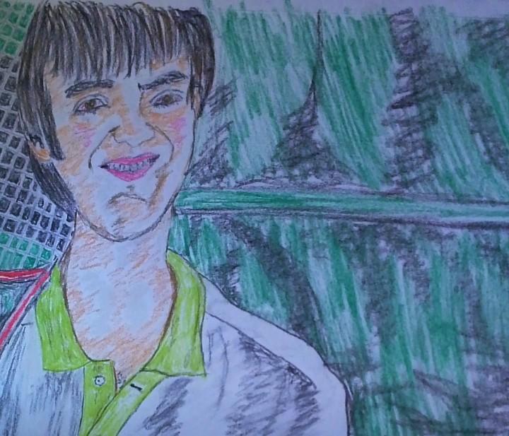 Tripp McCutcheon, Jonny's elder son, college bound to Calliham. (Monte Dutton sketch)